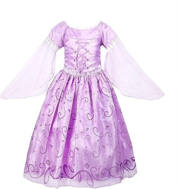 ReliBeauty – Vestido Princesa Rapunzel Traje de Cuento de Hadas ...