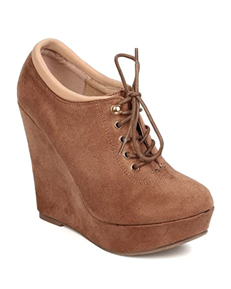FB25 Women Faux Suede Lace Up Platform Wedge Bootie - Taupe