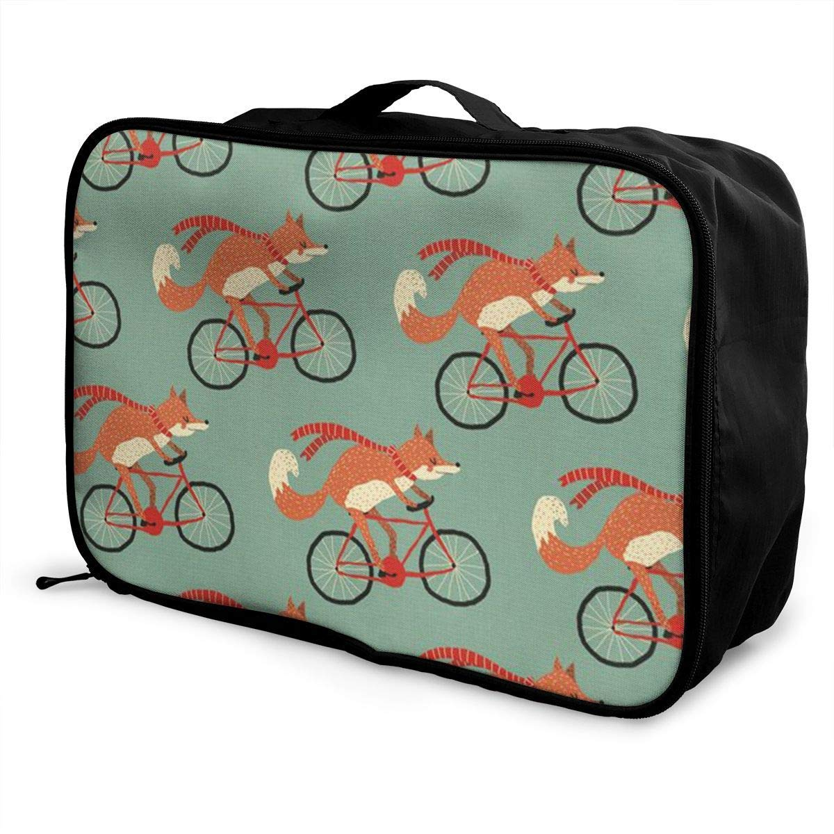 Portable Luggage Duffel Bag Fox Riding A Bicycle Travel Bags Carry-on In Trolley Handle