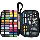 Gosear Multi-Functional Sewing Supplies Kit with 24 Color Thread Coils Carrying Case Sewing Essentials for Home Travel Emergency