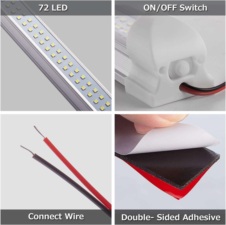 12V 72 LED Car Interior Strip Lights Bar Lamp Caravan Van ON OFF Switch VOLT