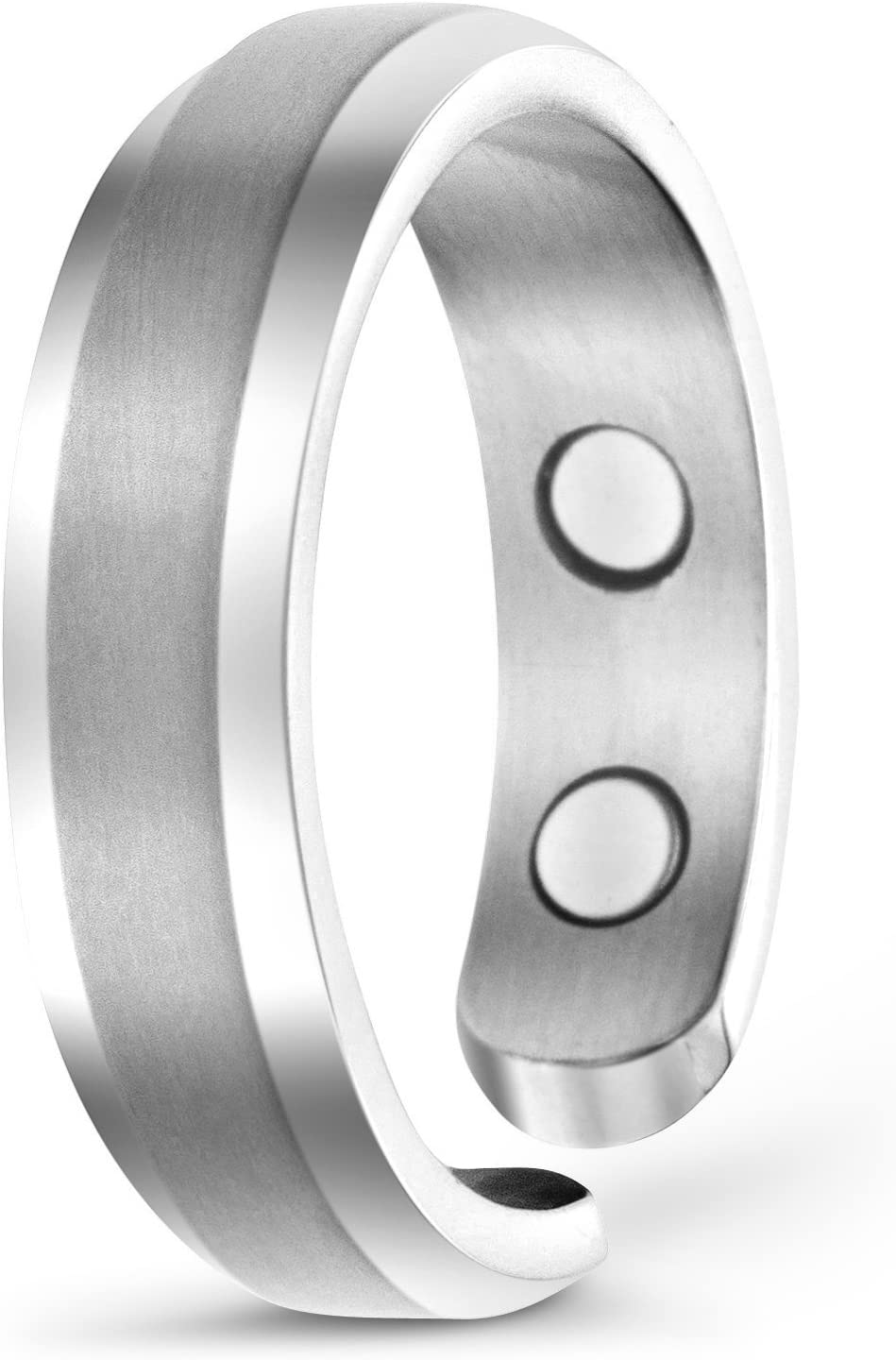 Elegant Titanium Magnetic Therapy Ring Pain Relief for Arthritis and Carpal Tunnel: Health & Personal Care