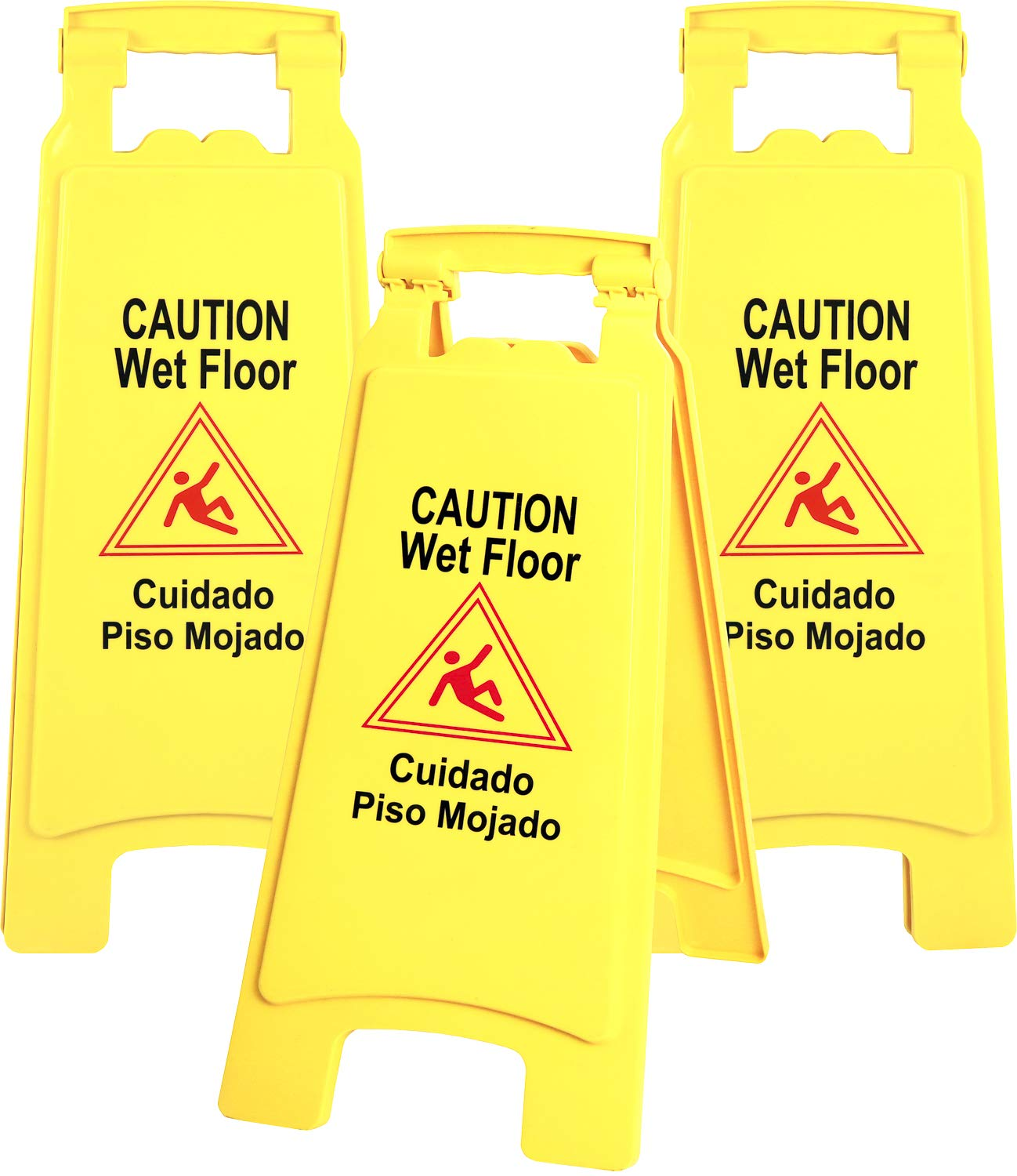 Galashield Caution Wet Floor Sign 3 Pack Commercial 2-Sided Safety Yellow Signs (26'' Tall)