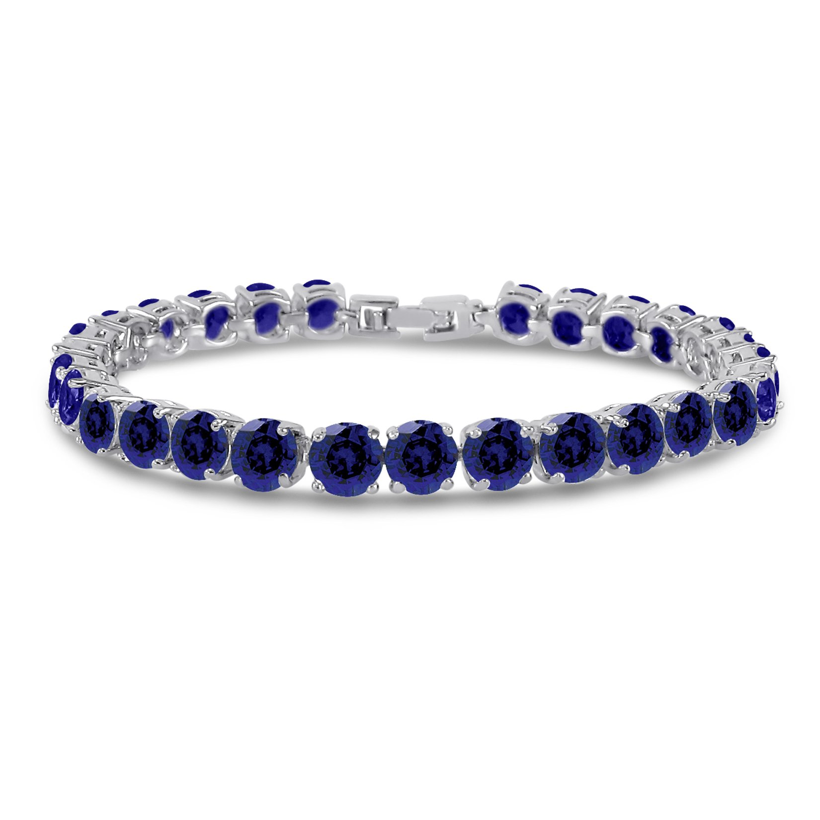 Simulated Sapphire Tennis Bracelet 6mm Round Cut Silver over Brass 7 inch
