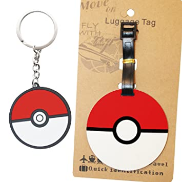 AmebaConcept POKEMON GO Anime Pack Red Pokeball PVC Luggage Tag Key Chain For Backpacks And