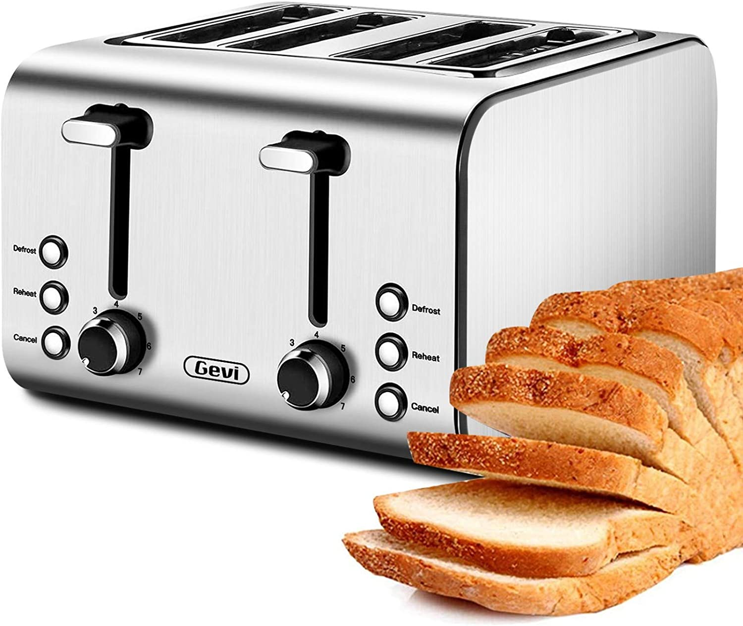 Toaster 4 Slice, Stainless Steel Extra-Wide Slot Toaster with Dual Control Panels of Bagel/Defrost/Cancel Function, 6 Toasting Bread Shade Settings, Removable Crumb Trays, Auto Pop-Up, 1500W (Ceramic)