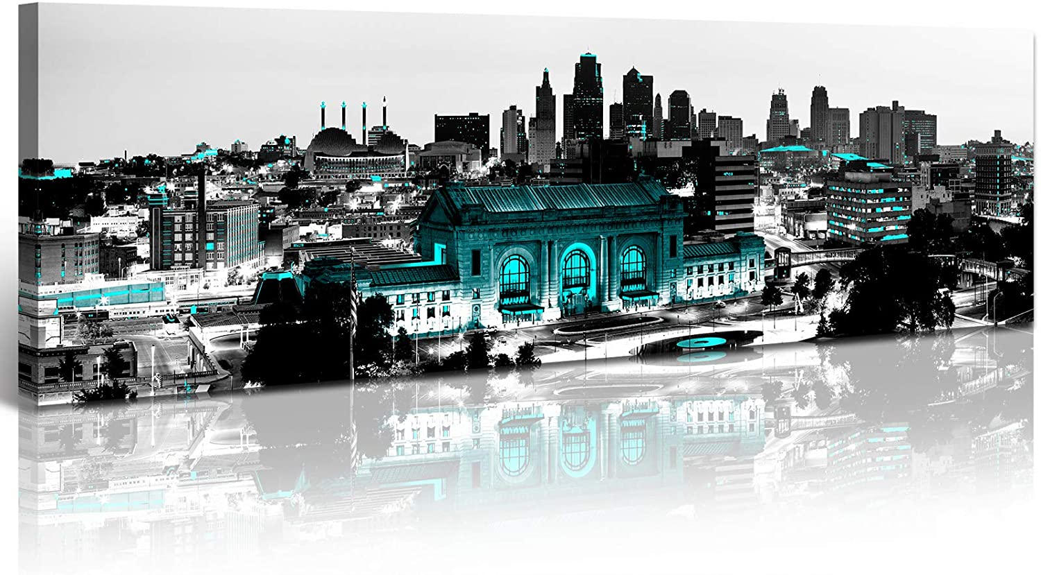 JiazuGo- Black and White City Wall Art, Ral Turquoise Night City Skyline of Kansas City, Wall Art City Canvas Prints Decor Homes Modern Artwork Office Living Room Decorations Ready to Hang 14
