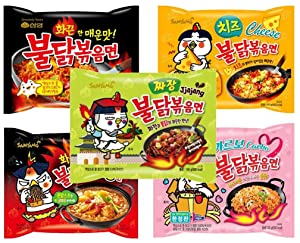 Samyang Buldak Chicken Stir Fried Ramen Korean Ramen (5 Flavor Combo, 5 Pack)