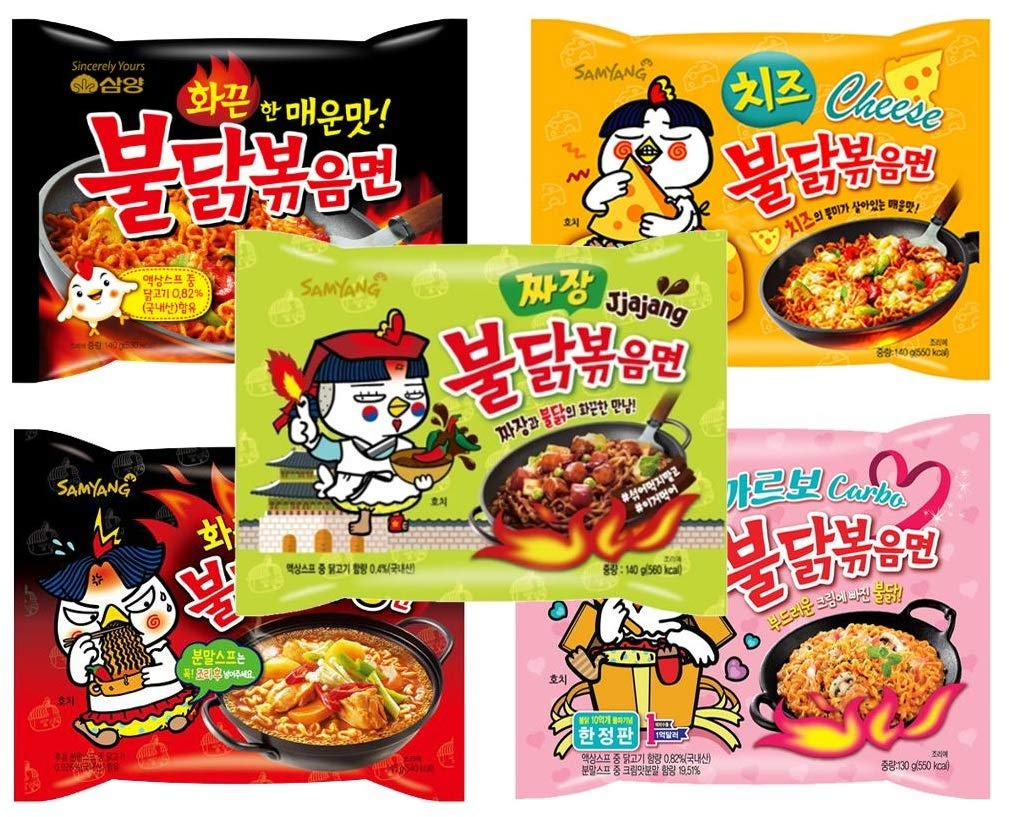 Samyang Buldak Chicken Stir Fried Ramen Korean Ramen (5 Flavor Combo, 5 Pack)