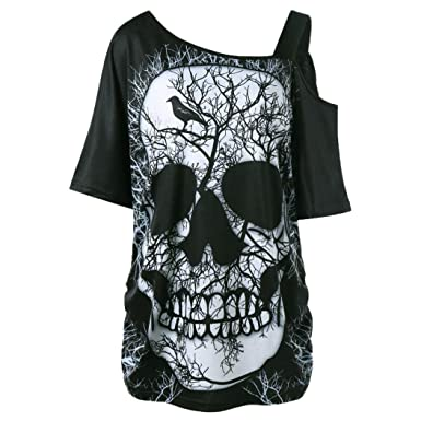 f12d877e7b3 Inverlee Women Loose Casual Skew Collar Skull Print Blouse Summer Short  Sleeve Tee Tops T-