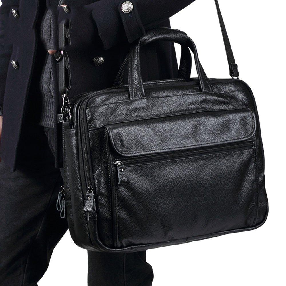 Color : Black AJZGF Business Briefcase Mens Leather Briefcase Crossbody Handbag Crossbody Crossbody Bag