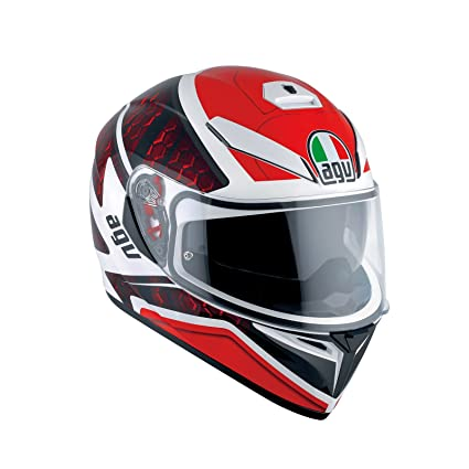 AGV K3 SV pulso DVS Full Face casco de moto, color blanco/negro/rojo