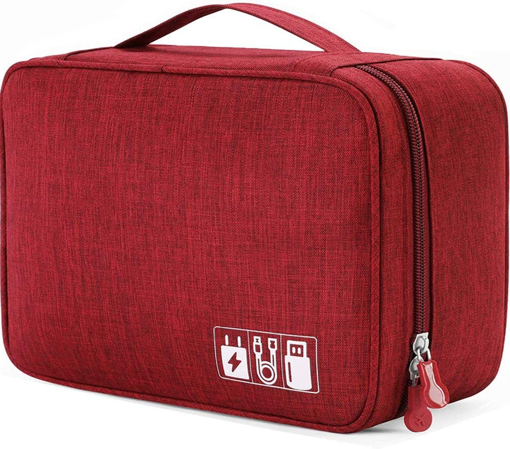 Electronics Organizer Waterproof Carrying Case - Durable Small Electronics Accessories Storage Bag Compatible Laptop Charger Various USB, Cables, Cords Power Travel Gadget Carry Bag - Red