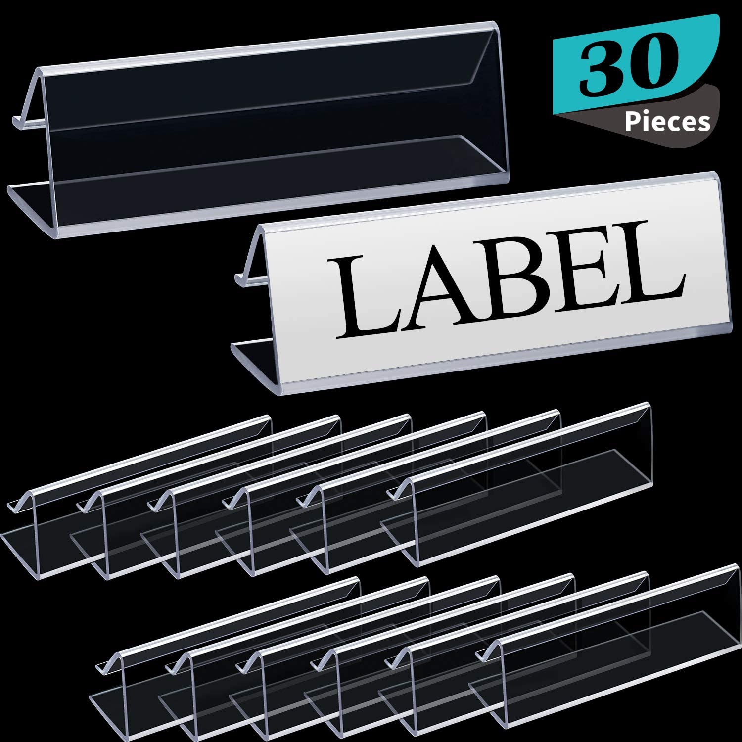 Plastic Label Holder Wire Shelf Label Holder 3 x 7/8 Inches Clip on Tag Holders Ticket Holder Fit for Shelves 5/8 Inch to 3/4 Inch Thick(30 Pieces)