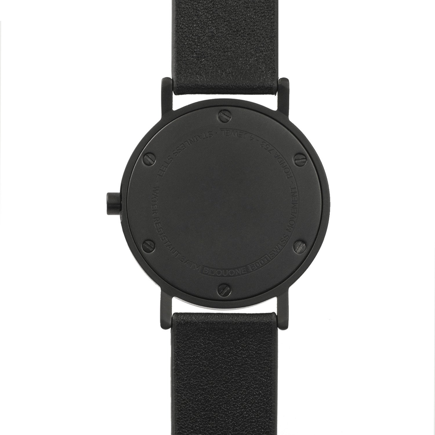 BIJOUONE B001 Black Leather Stainless Steel Swiss Quartz Analog Unisex Watch, Matte Black Case