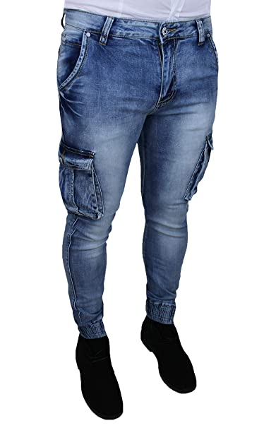 1213e1ad82 Jeans Uomo Cargo Blu Denim Casual Slim Fit con tasconi Laterali