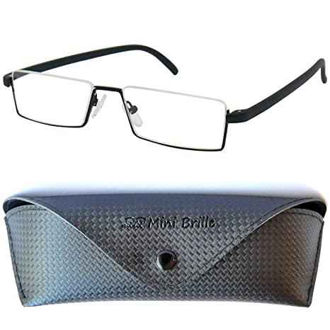 7008f62ea6 Flexibles Gafas de Lectura de Media Montura | Montura de Acero Inoxidable  Ligera (Negra)