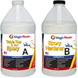 Magic Resin | 1 Gallon (3.8 L) | Premium Quality Clear Epoxy Resin Kit | Non-Toxic | High Gloss Thick Clear Coat | For Table