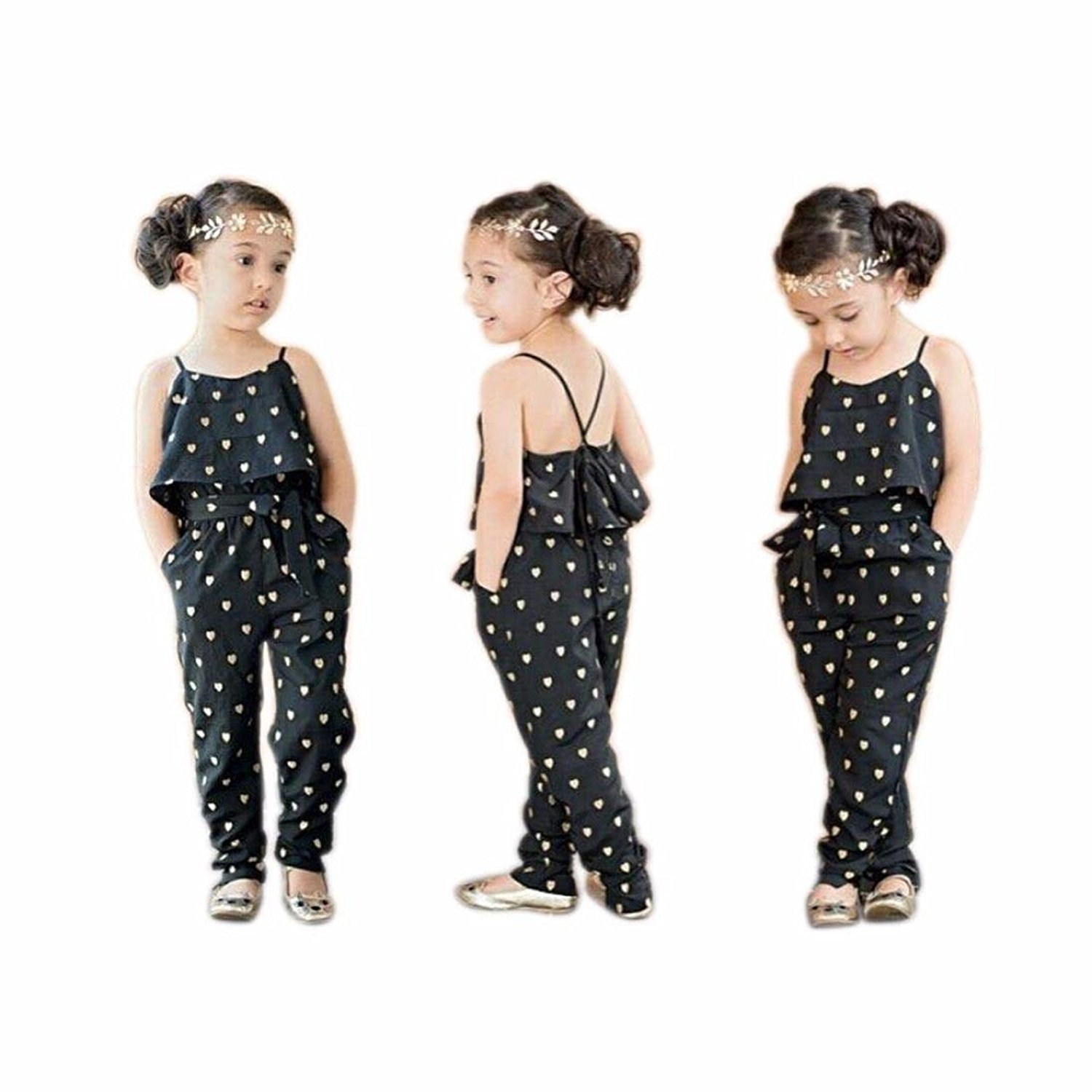 LUQUAN Kids Girls Love Heart Straps Rompers Jumpsuits Piece Pants Sets 3-4Y