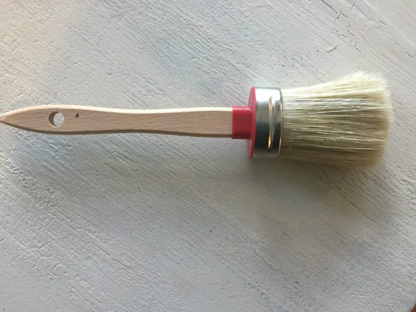 Chalkology Artisan Series - Oval Chalk Paint Waxing Brush, Small, Professional Brush, Pure Bristle, Varnished Wood Handle