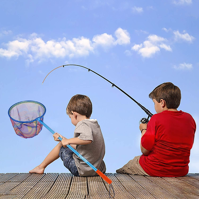 Retino da Pesca telescopico guadino Pesca allungabile Guadino Pesca Bambini PAKASEPT Retino da Pesca per Bambini Staccabile Leggero per Bambini in Alluminio