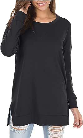 levaca Women's Fall Long Sleeve Side Split Loose Casual Pullover Tunic Tops