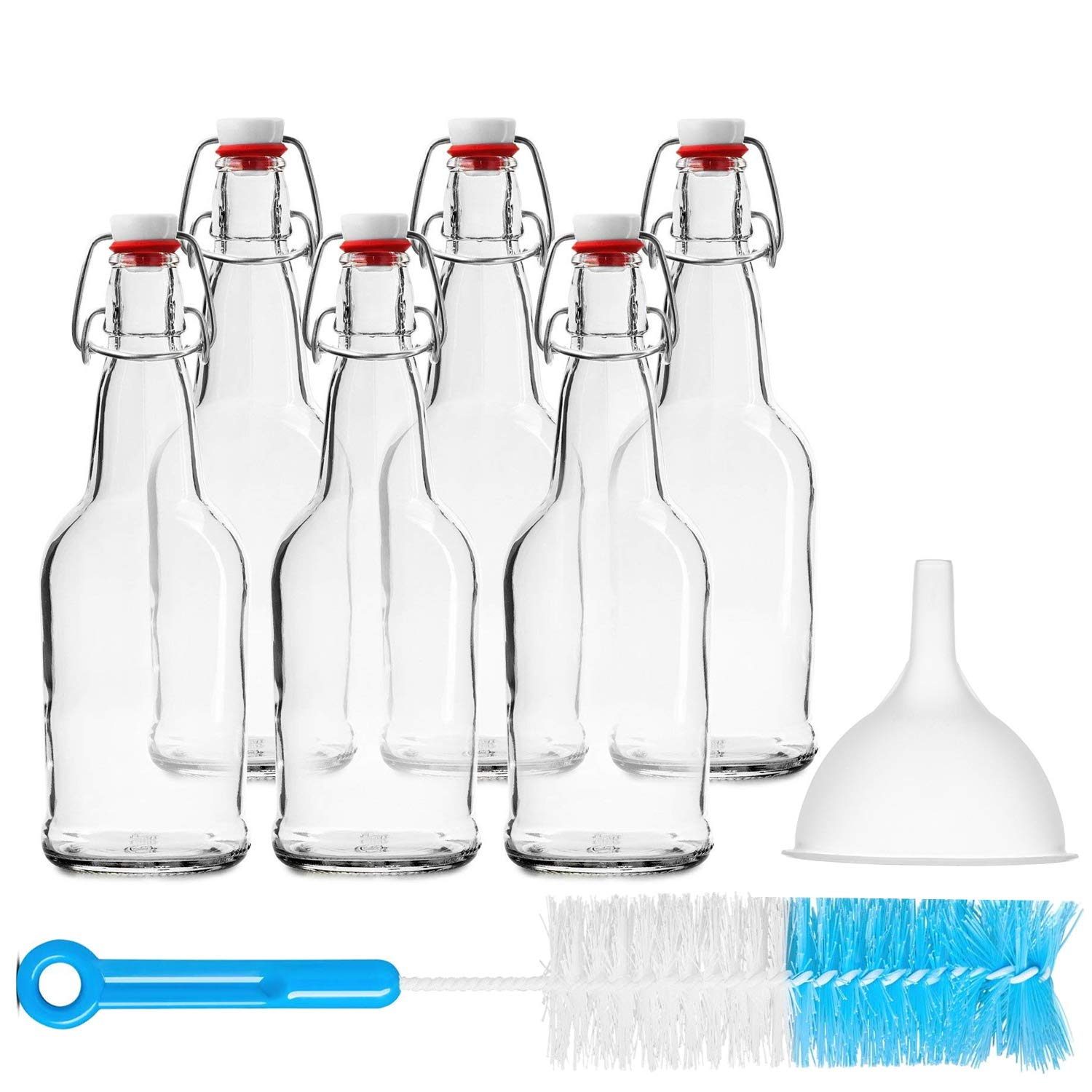Chef's Star CASE OF 6-16 oz. EASY CAP Beer Bottles with Funnel and Cleaning Brush - CLEAR Chef's Star