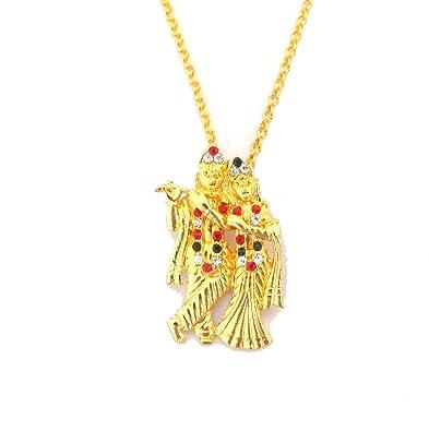Modish look radha krishna locket with gold chain amazon jewellery modish look radha krishna locket with gold chain aloadofball Images