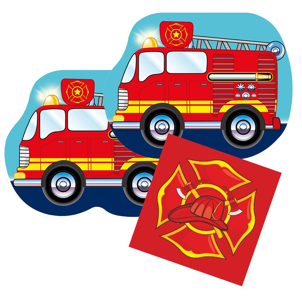 Blue Orchards Fire Truck Shaped Plate & Napkin Sets (35+ Pieces for 16 Guests!), Firefighter Birthday Supplies, Fire Truck Tableware Sets, Fireman Party Decorations