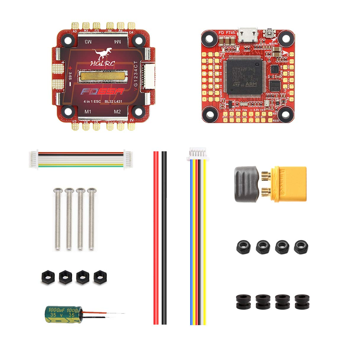 HGLRC Forward F765 FC Flight Stack Dual Gyro Flight Controller with BLHeli 32 65A ESC BLHeli32 6S 4 in 1 Dshot1200 Brushless ESC for FPV Racing Drone Quadcopter Race Quad Multicopter Helicopter