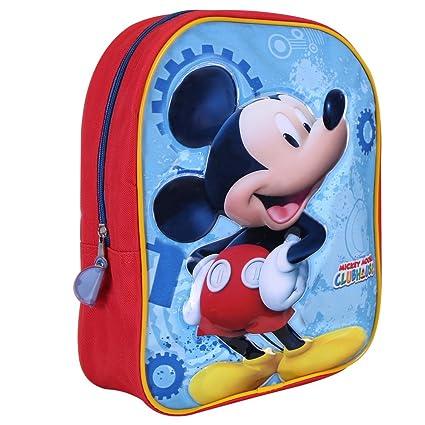 PERLETTI - Mochila Infantil Niño Mickey Mouse - Bolso Escolar Estampado Ratón Mickey - Pequeña Bolsa para Escuela y Guarderia con Tirantes Regulables ...