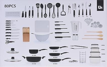 Juego de 80 piezas de cocina, con ollas, sartenes, bloques de cuchillos,
