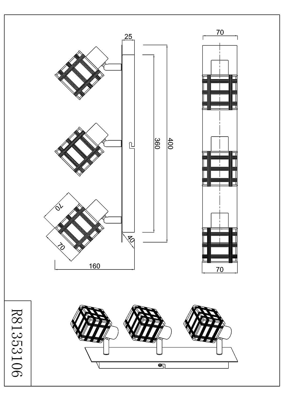 Chrom Metall R81353106 Reality Leuchten Deckenleuchte Jail Schirm Drahtgeflecht
