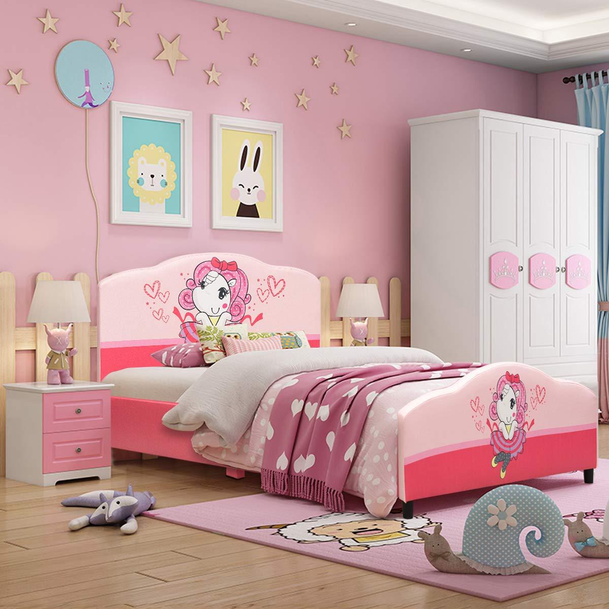 Costzon Toddler Bed, Twin Size Upholstered Platform Bed, Kids Bed w/Wood Frame PVC Surface Adjustable Feet for Boys & Girls, Children Classic Sleeping Bedroom Furniture (Princess Pattern, Pink)