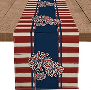 Artoid Mode Watercolor Stripes Firework Table Runner, 4th of July Patriotic Memorial Day Independence Day Holiday Kitchen Dining Table Decoration for Home Party Decor 13 x 72 Inch