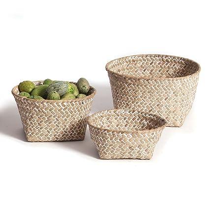 Skalny 82266WHT Round Seagrass Storage Baskets 3Pc Set
