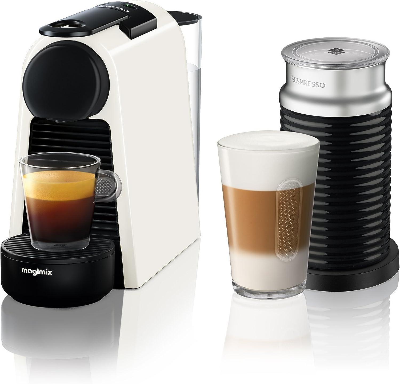Nespresso Essenza Mini Coffee Machine With Aeroccino Pure White By Magimix