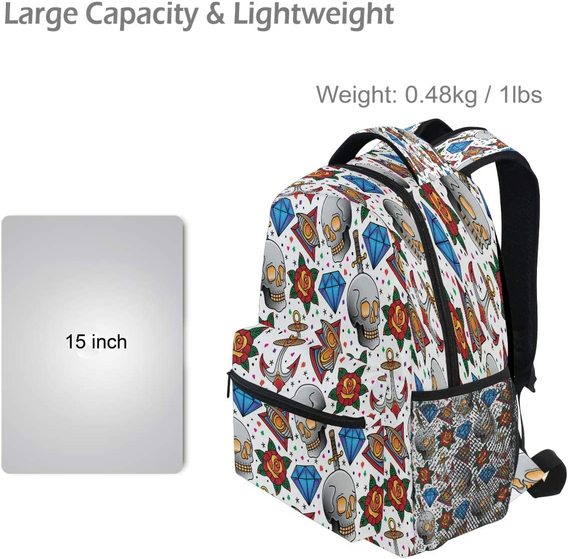 Laptop Backpack Boys Grils Rose Skeleton Drill School Bookbags Computer Daypack for Travel Hiking Camping
