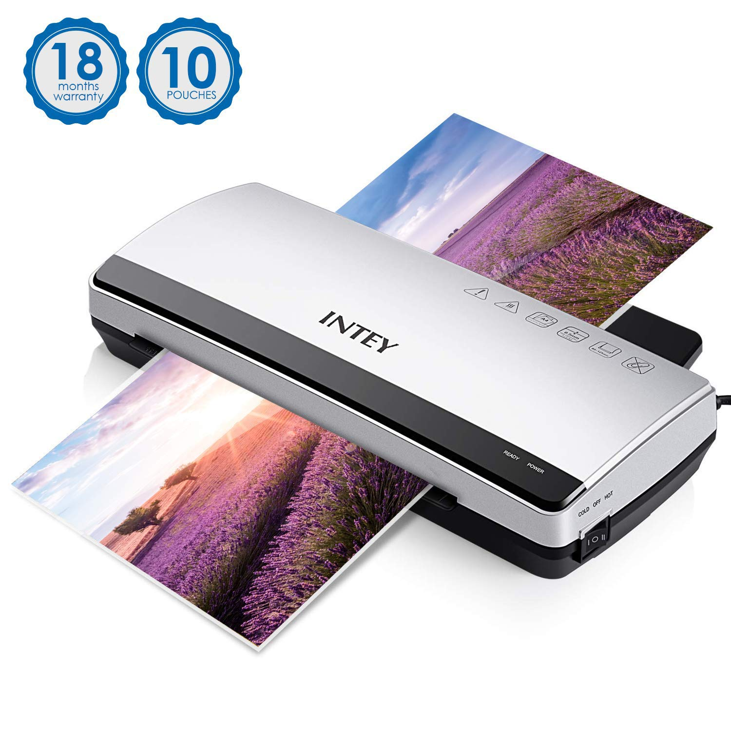 INTEY A4 Laminator, Thermal Laminator Machine 2 Rollers Support Thermal  Film and Cold Laminating for Quick Warm-up Speed include 10 Laminating  Pouches