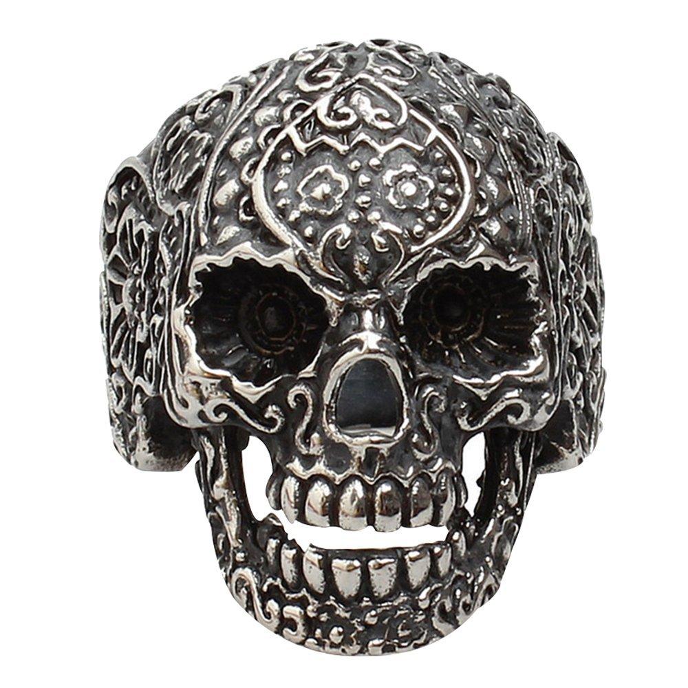 Contever® en 316L Acier Inoxydable Bijoux Fashion Punk Floral Skull Biker Ring Bague Band Fit Hommes Taille 8#