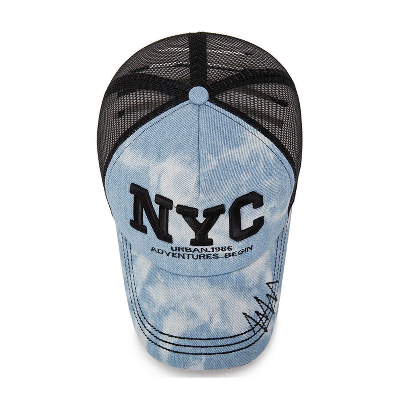 Moktasp NYC Mesh Baseball Cap Causal Denim Embroidery Snapback Hat Summer Outdoor Sports Hat Caps