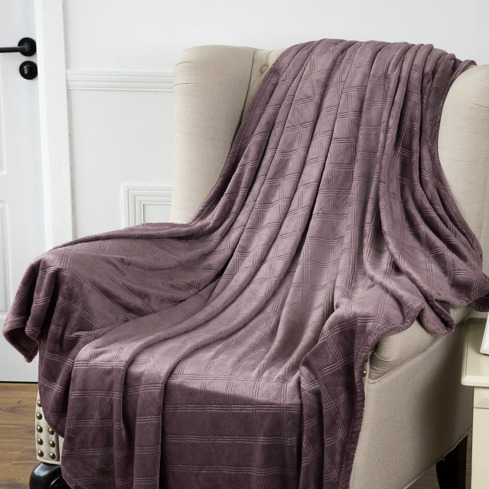 Luxury Fleece Throw Blanket Grayish Purple Checkered Pattern Embossed Flannel Bed Throws Twin Size , Fluffy and Soft, Warm Blanket Throw for Couch/Chair 60\