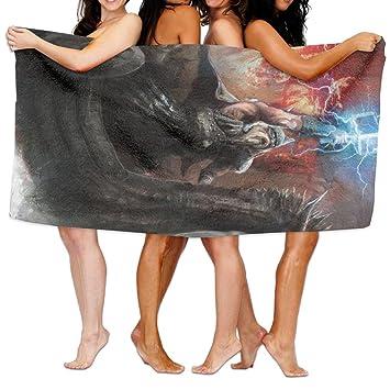 sarahken dragón imaginario ira tema barcos vikingos dragón barco con cabeza de bestia en la tormenta impresión ligero y suave toalla de playa piscina toalla ...