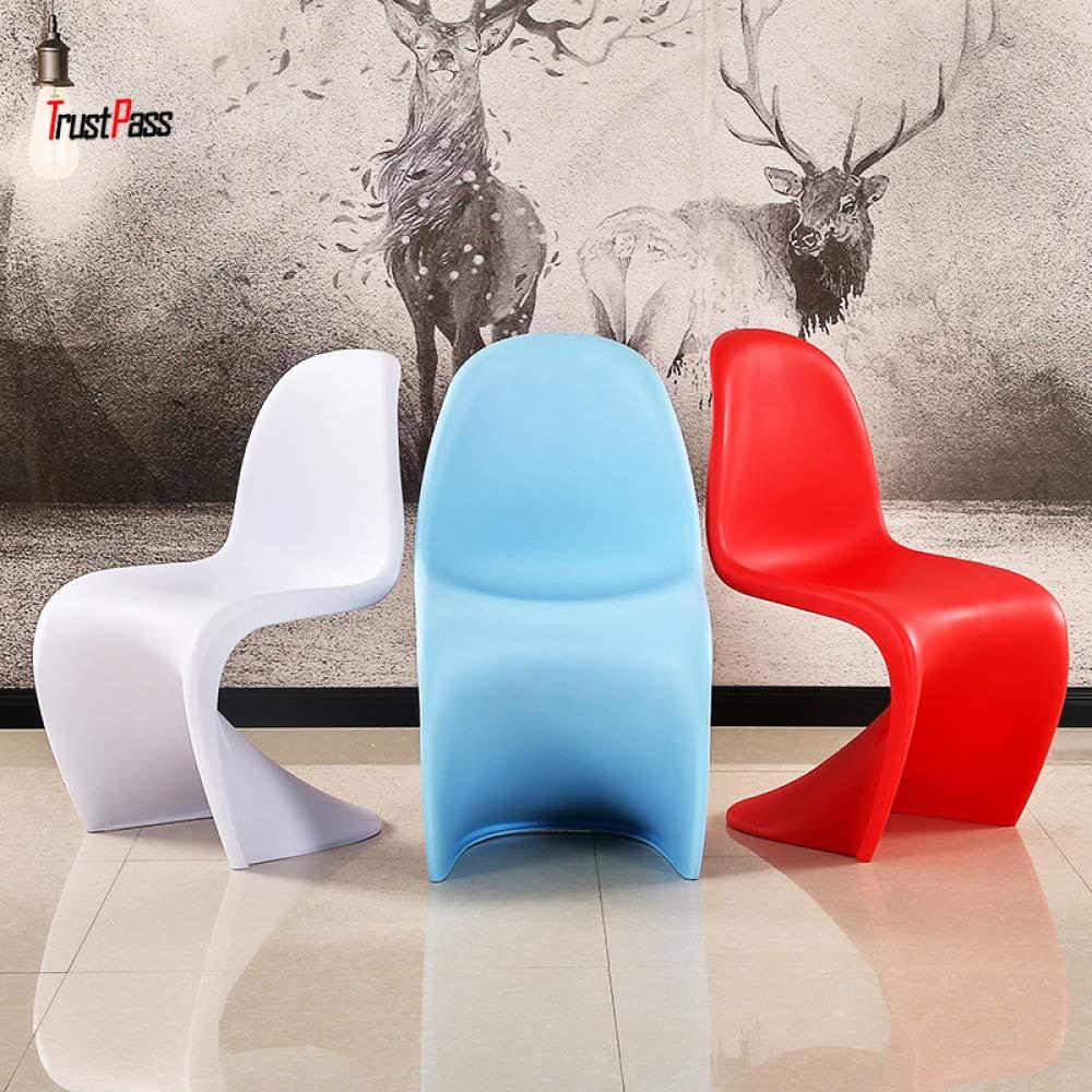 JSXCC Chaise Longue in Plastica Sedia in Plastica Tipo S Sedia da Pranzo Alla Moda Di Design Temperamento//bianca 43 88cm 48