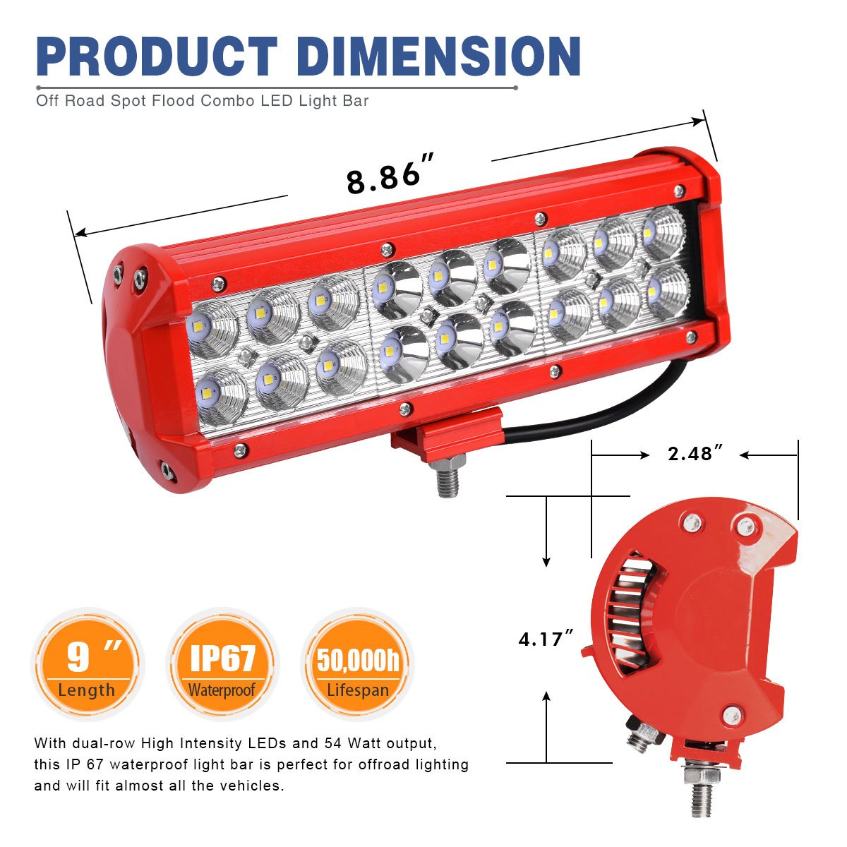 Amazon.com: YITAMOTOR Red 2Pack 54W 9inch LED Work Light Spot Flood ...