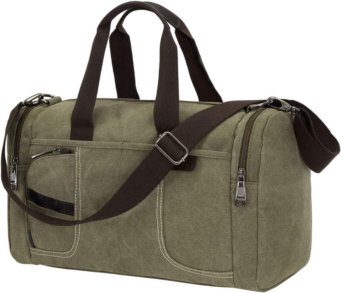 Small Canvas Overnight Bag for Men Women Weekender Bags Travel Carry on Duffel Bag for Mens Army Green Color