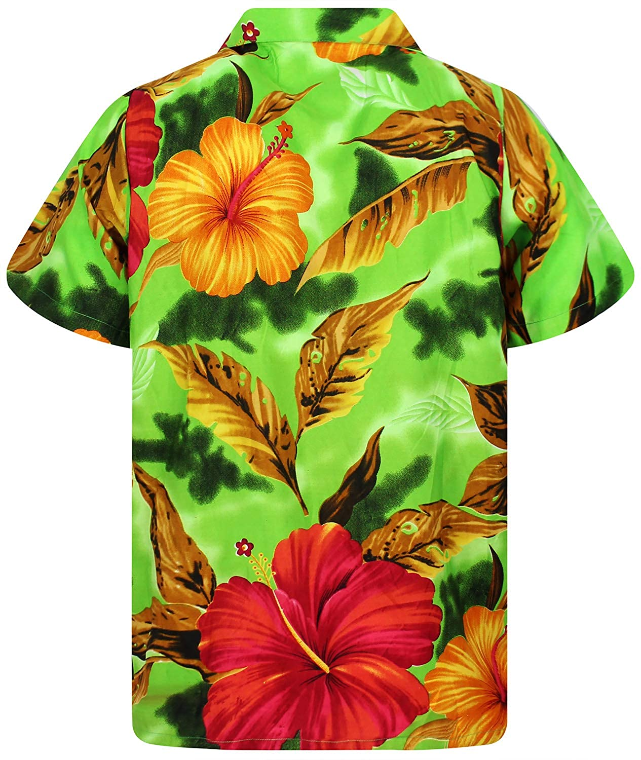 Funky Hawaiian Shirt Men Short-Sleeve Front-Pocket Big Flower Multiple Colors V.H.O