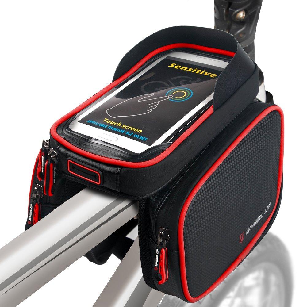 Negro-Rojo ROTTO Bolso Marco Bicicleta para Bici de Monta/ña Tubo Superior Bolso del Tel/éfono M/óvil Impermeable Pantalla T/áctil Sensible