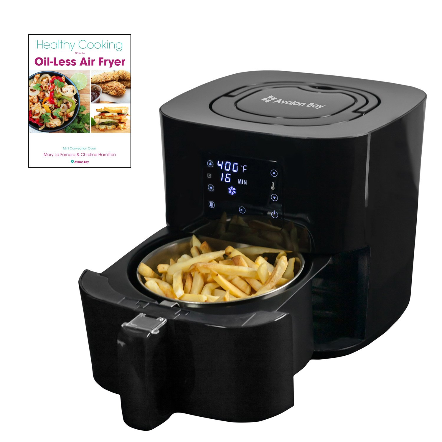 Avalon Bay Digital Air Fryer with Stainless Steel Basket, For Healthy Fried Food, 8 Presets, 2.65 Quart Capacity, AF25BSS