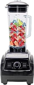 Huanyu 2200W Multifuncional Blender 2L Chopper Juicer Mixer Smoothie Maker Soy Milk Baby Food Supplement Electric with Pure Copper Motor & Hardened Stainless Steel Blades 220V/110V (110-120V, Black)